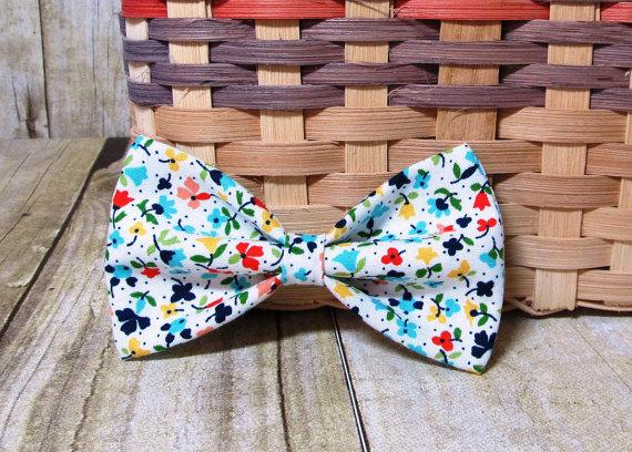 Свадьба - White Colorful Spring Flowers Bow Tie, Hair Clip, Headband or Pet Bow Tie
