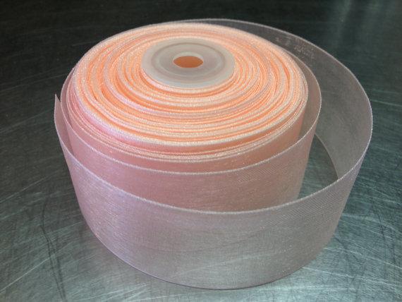 زفاف - Peach Sheer  Ribbon 25 yards