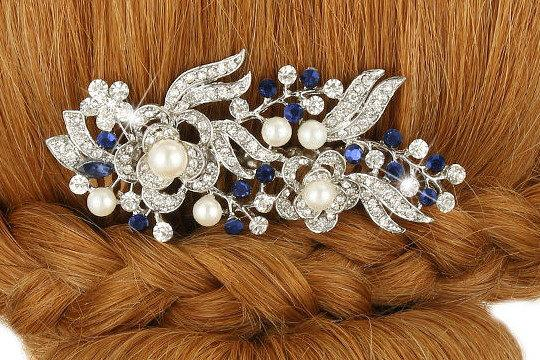 زفاف - Bridal Hair Comb Wedding Hair Comb Sapphire Blue Pearl Silver Wedding Hair Piece Bridal Jewelry Wedding Jewelry Bridal Accessories Style-159
