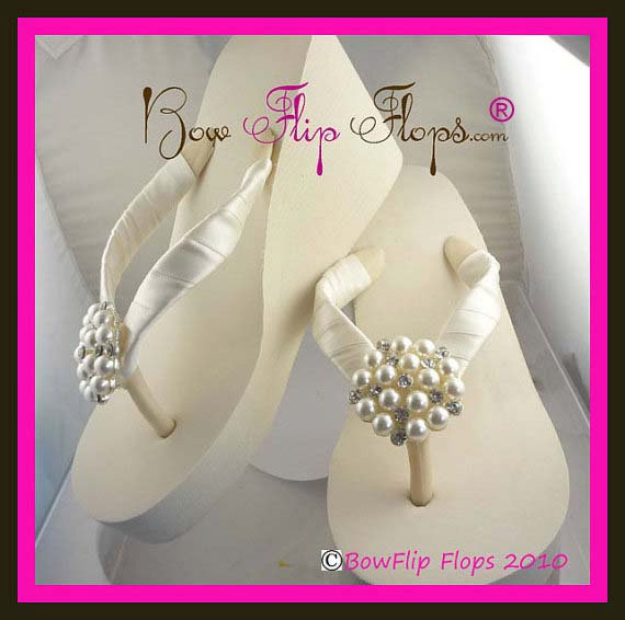 ced1408a2 Ivory Wedge Bridal Flip Flops Rhinestone Satin Pearl Rhinestone Wedding  Bride platform heel Wedding Ribbon