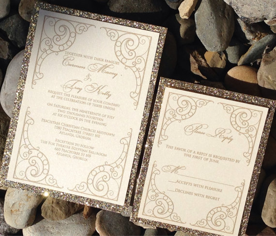 Glitter wedding invitation glitter bridal shower invitations glitter wedding invitation glitter bridal shower invitations engagement announcement wedding invitations gold silver art deco scroll filmwisefo