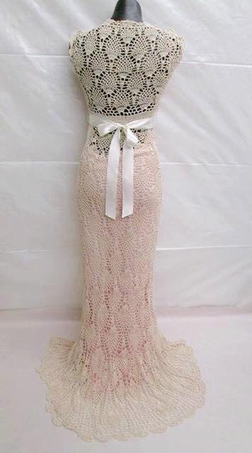 Hand Crocheted Pineapple Stitch Wedding Dress **Limited Time Free ...
