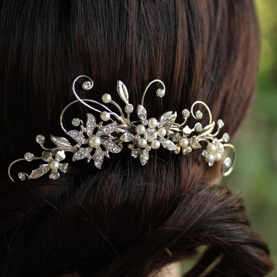 زفاف - Wedding Hair Comb Rhinestone Flower Bridal Comb Side Comb Vintage hair accessories AMBRIA HAIR COMB
