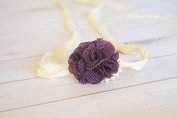 Mariage - Burlap Tieback Headband, Eggplant Purple Burlap, Pearls, RTS Newborn Tieback Headband, Rustic Headband, Rustic Tieback, Country Wedding