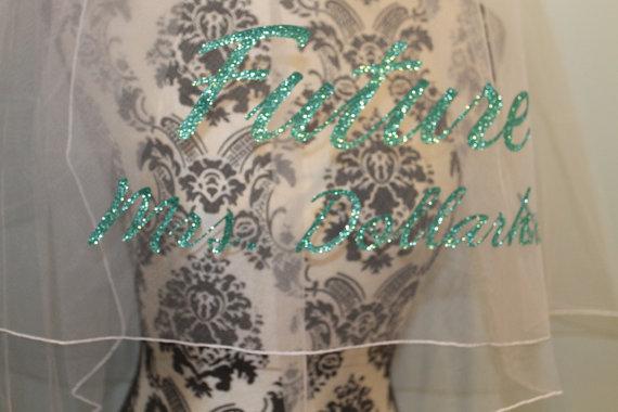 Wedding - bachelorette veil, turquoise glitter,  bachelorette,  bridal shower