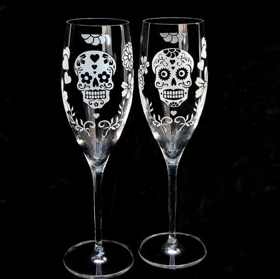 Wedding - Two 2 Day of the Dead Wedding Toasting Flutes, Sugar Skull Wedding Decor