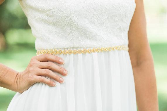 Mariage - Skinny Ronda gold wedding sash , gold  or silver bridal belt, beaded sash
