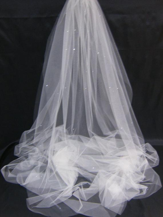 زفاف - Swarovski Crystal Rhinestone Sheer 108 Inch Long Cathedral Length Veil with Blusher