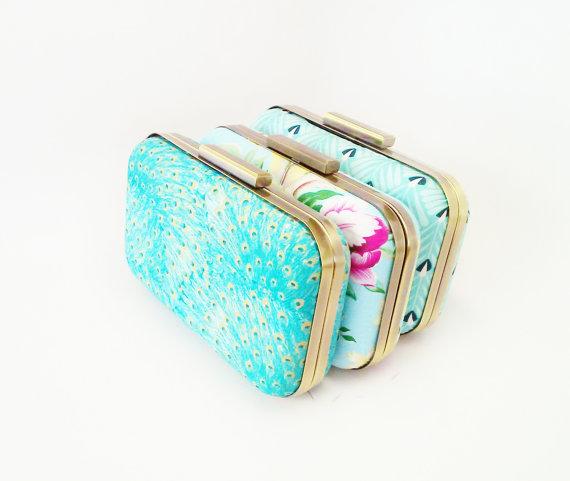 زفاف - set of 3 clutches, bridesmaid gift idea, bridal accessories, floral clutch purse, aqua wedding, teal wedding, peacock wedding, bridal clutch