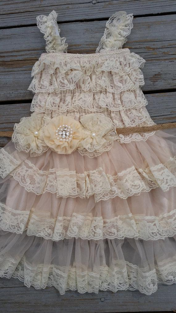 Wedding - Lace Flower Girl Dress/Shabby Chic Flower Girl /Cream Flower Girl/Country Wedding-Champagne Flower Girl Dress-Shabby Chic Dress