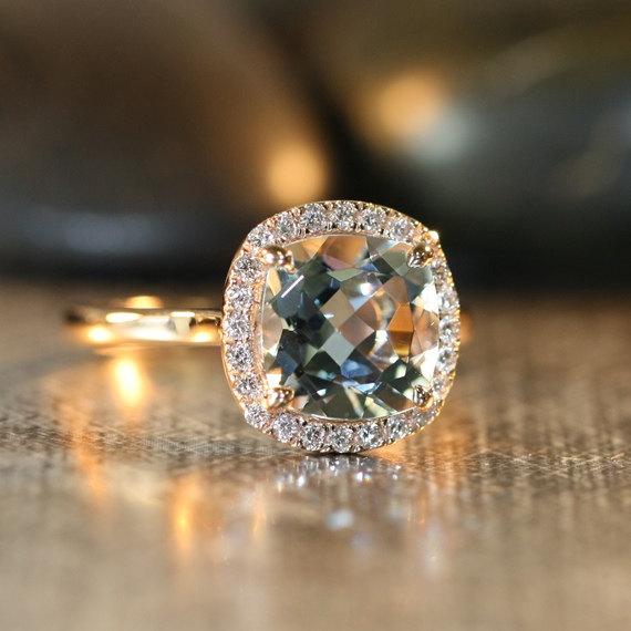 Mariage - Natural Aquamarine Engagement Ring in 14k Rose Gold 8x8mm Cushion Aquamarine Ring Halo Diamond Wedding Ring (Custom Made Ring Available)