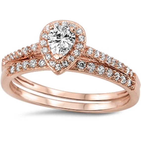 Mariage - Designer 14K Rose Gold over 925 Sterling Silver Pear and Round Cut Russian Ice Diamond CZ Wedding Engagement Ring and Band Set 2 Ring Set