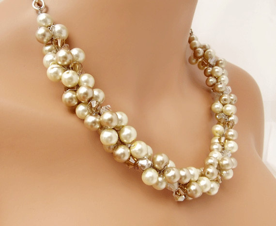 Mariage - Bridal Pearl Necklace, Champagne and Ivory Pearl Necklace, Wedding Jewelry, Bridesmaid Necklace