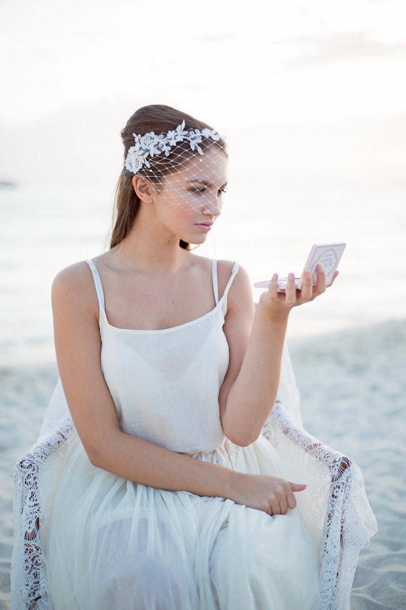 Mariage - Bridal lace bandeau veil, wedding veil with floral lace
