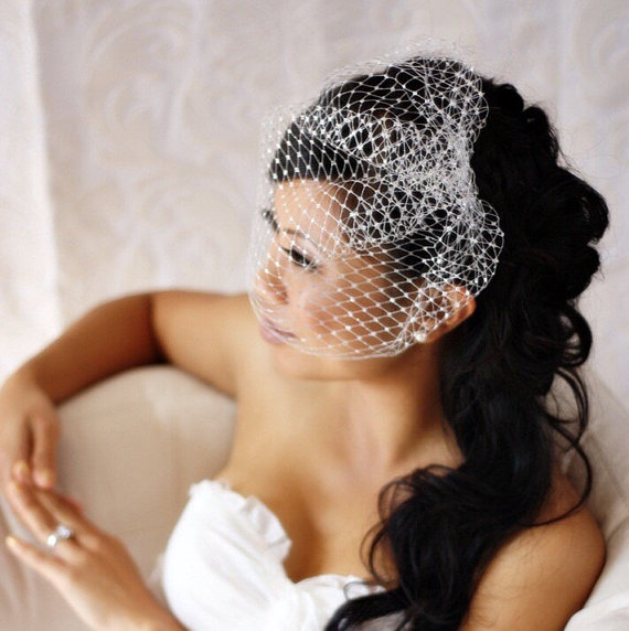 Mariage - 9 inch Birdcage Veil (Gold or Silver)