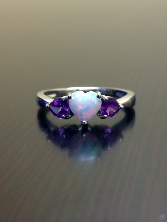 Mariage - Opal Engagement Ring - Silver Amethyst Opal Heart Ring - Opal Ring - Amethyst Ring - Opal Wedding Ring - Amethyst Heart Ring - Silver Ring
