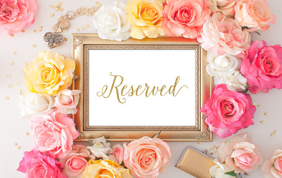 photo relating to Printable Reserved Signs for Wedding named 75% OFF SALE Reserved Symptoms For Marriage ceremony - 5x7 Gold Wedding day