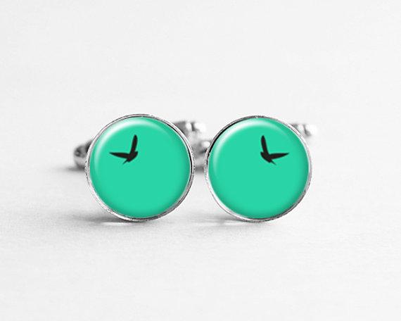 Mariage - Summer Boyfriend Gift, Flying Bird Cufflinks, Bird Jewelry, Teal Wedding, Grooms Men Gift, Birthday Cufflinks, C088