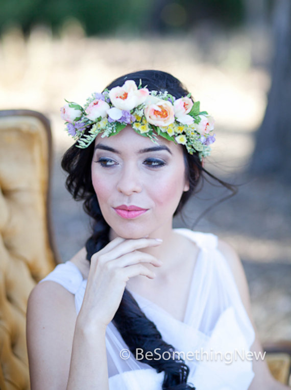 Flower Crown Wedding Hair Accessory Fl Wreath In Peaches And Lavenders Woodland Headpiece Wreaths