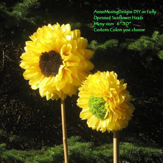 Свадьба - Dozen, Bloomed, Medium Paper 9in Sunflowers, Daisy, Peony, Poppy, ready to use, wedding, party, wall art