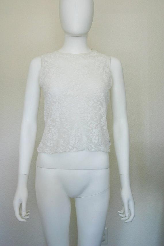 Hochzeit - DKNY Sheer Lace Lingerie top small medium