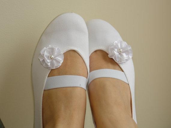 Свадьба - woman shoes girls shoes mary jane shoes white cotton romantic wedding ballet flats dance dancing summer dress  shoes