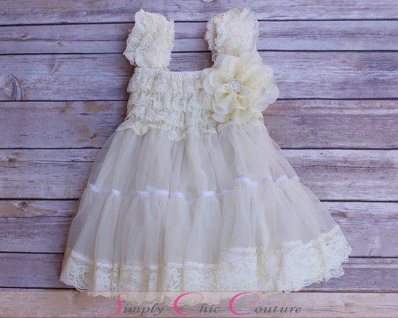Wedding - Flower Girl Dress, Ivory Lace Flower Girl Dress, Flower Girl Dress, Christening Dress, White Baptism Dress, tulle flower girl dress
