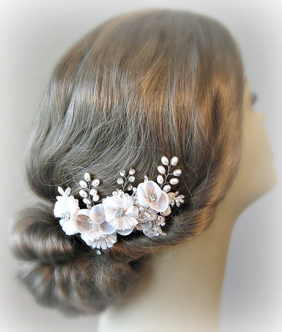 Blush Bridal Fascinator Light Pink Hair Flowers Crystal And Pearl