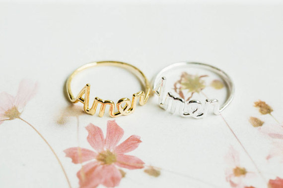 Свадьба - Amen script letter ring,Jewelry,Ring,bridesmaid gift,engagement ring,wedding ring,religious ring,faith ring,couple ring,unique ring,SKD92