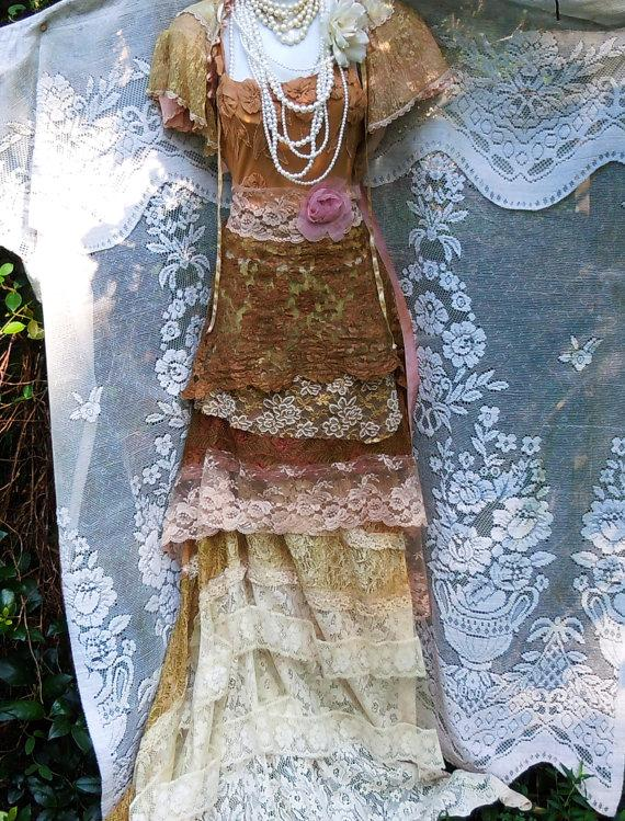 Свадьба - Beige wedding dress tea stained lace silk floral  vintage  bohemian romantic small by vintage opulence on Etsy