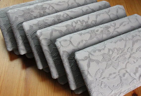 Свадьба - 5 Bridesmaid Clutches - Gray Satin Lace Wedding Clutch - Pick Your Own Fabric and Lace