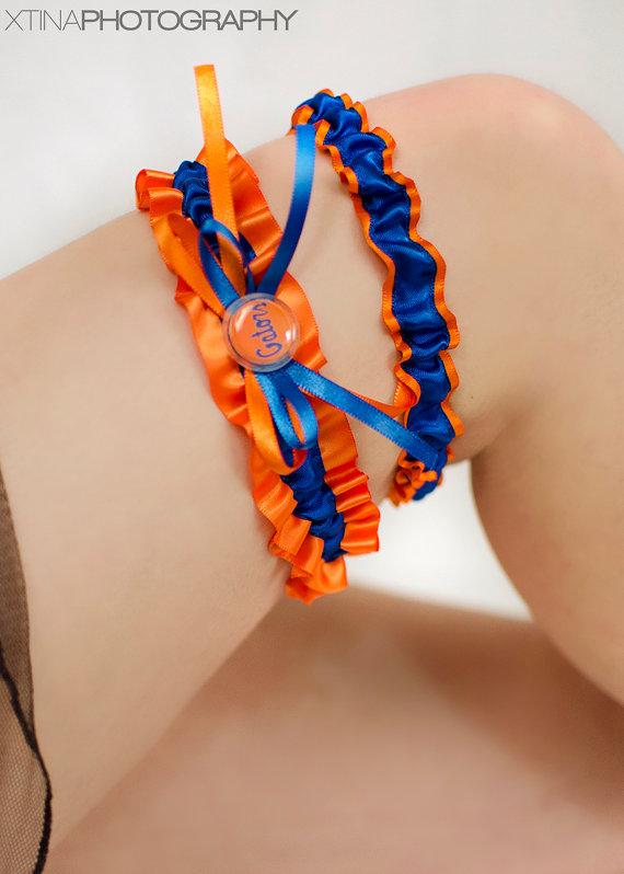 Wedding - Florida Gators Inspired Orange & Royal Blue Satin Wedding Garter Keepsake Or Bridal Set