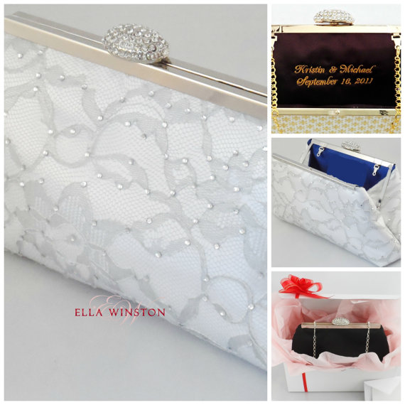 Свадьба - Bridesmaid Gift Clutch, White, Royal Blue And Platinum Grey Rhinestone Bridal Clutch, Mother Of The Bride Gift, Wedding Clutch Gifts For Her