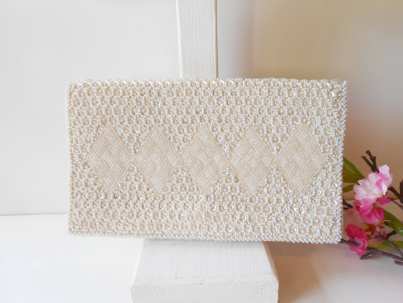 Mariage - White Beaded Evening Bag Sparkly White Evening Clutch Purse Wedding Bridal EB-0613