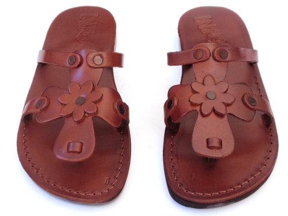 Свадьба - SALE ! New Leather Sandals ROSE Women's Shoes Thongs Flip Flops Flats Slides Slippers Biblical Bridal Wedding Colored Footwear Designer