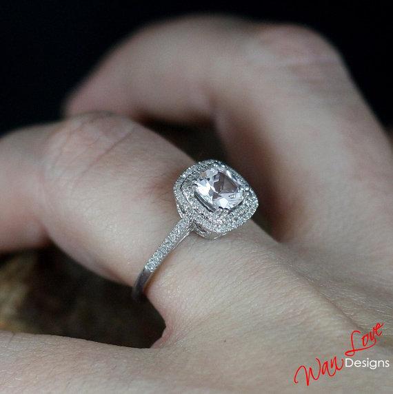 Mariage - Forever Brilliant Moissanite Diamond Halo Engagement Ring Cushion 2 Double 1.1ct 6mm 14k 18k White Yellow Rose Gold-Platinum-Custom-Wedding