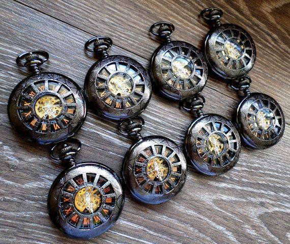Свадьба - Set of 7 Black Mechanical Pocket Watches with Copper Dial and Watch Chains Clearance Groomsmen Gift Best Wedding Party Gift Grooms Corner
