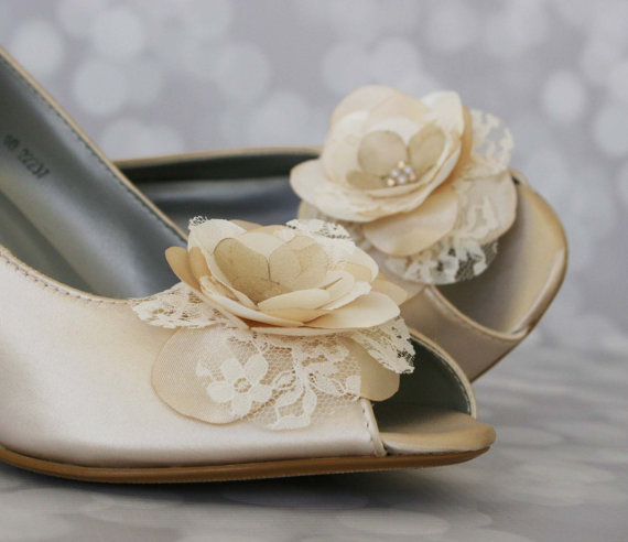 Mariage - Flower Wedding Shoes -- Champange Peep Toe Custom Wedding Wedges with Ivory and Champagne Flower on Toe and Pearl Buttons
