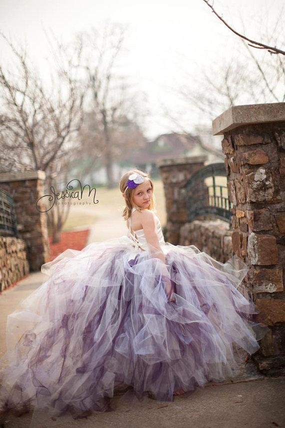 Свадьба - Pixie tutu dress  with train....any color combination .Flower Girl Dress with long train..tutu and corset top set