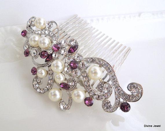 Свадьба - Purple Wedding Hair Clip,Crystal Pearl Wedding Comb,Wedding Hair Accessories,Vintage Style Amethyst Leaf Rhinestone Bridal Hair Comb,KENDRA