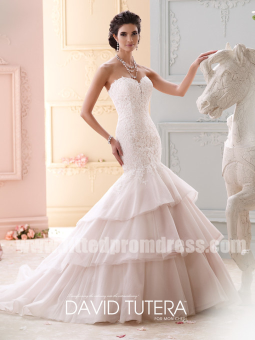 Mariage - David Tutera for Mon Cheri Style Adrian 215262 Strapless Trumpet Wedding Dresses