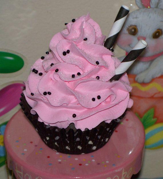 زفاف - Standard Fake Hot Pink And Black Polka Dot Cupcake Sprinkles Striped Straws Party Decor, Photo Holder, Photo Props, Toppers Girls Room Decor