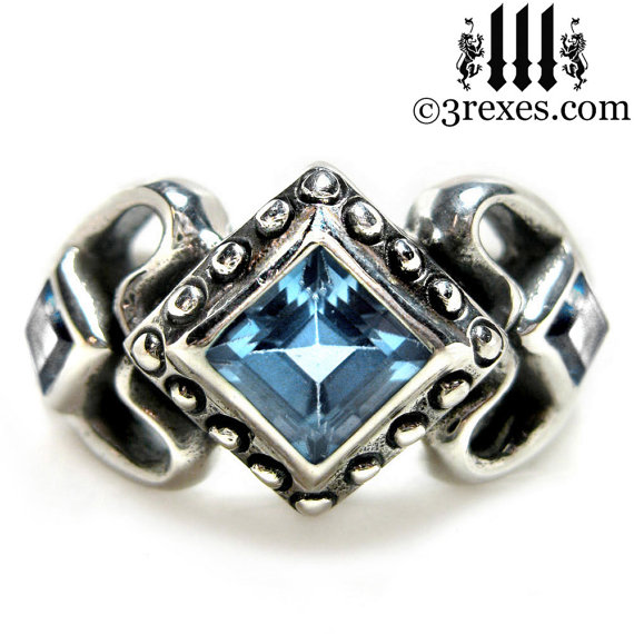 Mariage - Princess Love Engagement Ring Gothic Silver Wedding Band Ice Blue Topaz Size 5