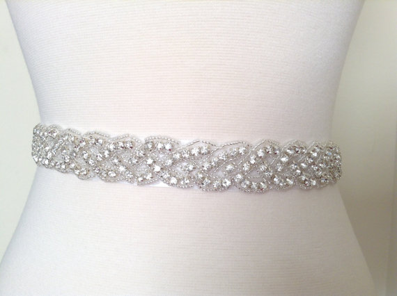 Wedding - Bridal sash, bridal belt, wedding dress sash, rhinestone sash, beaded sash custom made.