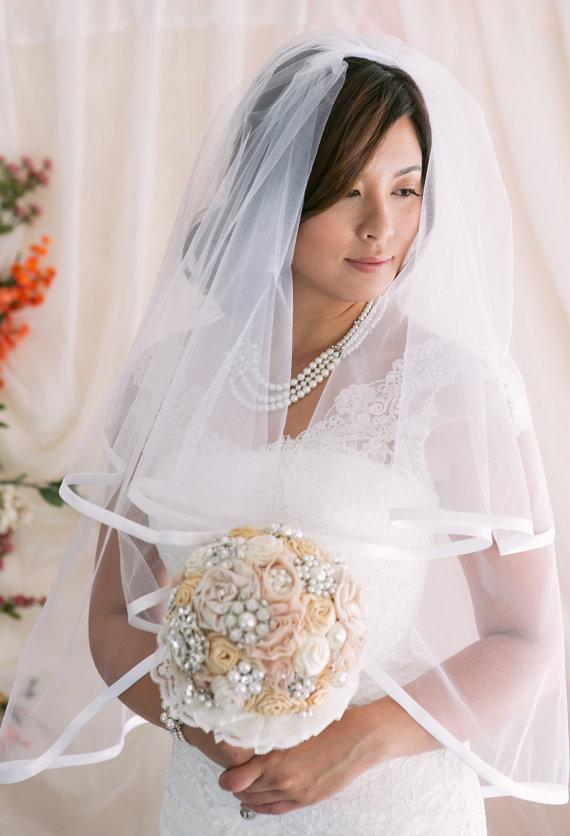 Mariage - 2 Tier Veil with Satin Binding Edge, Bridal Veil, Wedding Veil, Satin Trim Veil