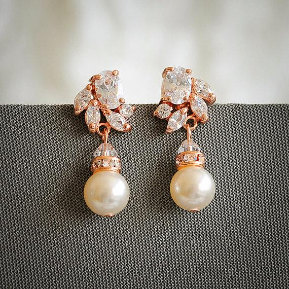 Mariage - Rose Gold Bridal Earrings, Art Deco Crystal Wedding Earrings, Swarovski Pearl Drop Earring,  Zirconia Earrings, Wedding Jewelry, HONORA