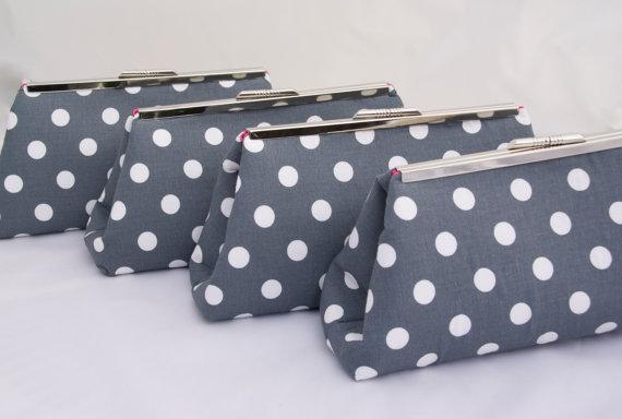 Mariage - Custom Handbag in Dark Grey Silver Polka Dot Bridesmaids Gift Clutch for Wedding Party Gift or Bridal Party Accessory