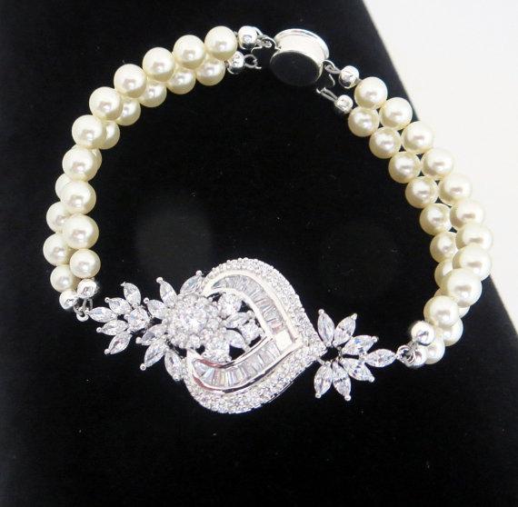 زفاف - Bridal Bracelet, Crystal Wedding bracelet, Pearl bracelet, Wedding jewelry, Swarovski bracelet, Art Deco bracelet, Vintage style, EMMA