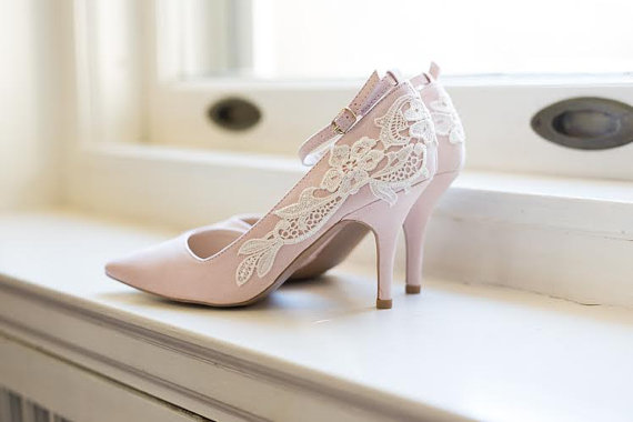 Blush Wedding Heels   Blush Heels, Blush Bridal Shoes, Wedding Shoes, Lace  Heels, Blush Pumps With Ivory Lace. US Size 6.5