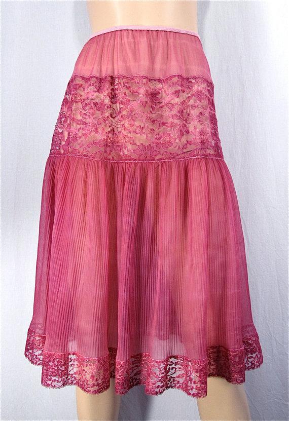 Wedding - Hand Dyed Slip Skirt SMALL Tie Dye Boho Lace Pleat Petti Slip Rose Champagne Vintage Petticoat Upcycled Half Slip Bridal Boudoir Pin Up